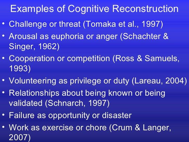 <ul><li>Challenge or threat (Tomaka et al., 1997) </li></ul><ul><li>Arousal as euphoria or anger (Schachter & Singer, 1962...