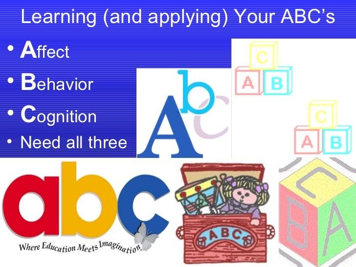 Learning (and applying) Your ABC's <ul><li>A ffect </li></ul><ul><li>B ehavior </li></ul><ul><li>C ognition </li></ul><ul>...