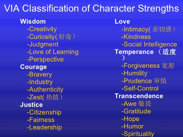 VIA Classification of Character Strengths Wisdom -Creativity -Curiosity( 好奇) -Judgment -Love of Learning -Perspective Cour...