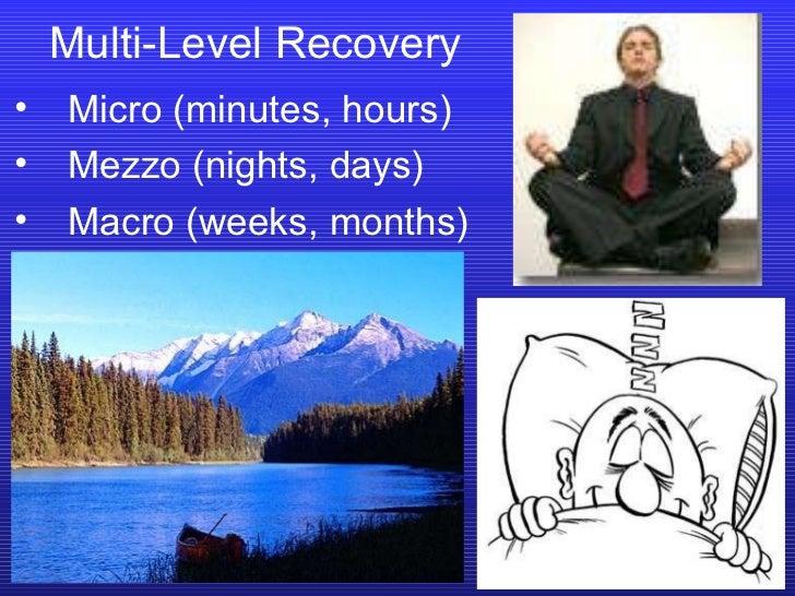 Multi-Level Recovery <ul><li>Micro (minutes, hours) </li></ul><ul><li>Mezzo (nights, days) </li></ul><ul><li>Macro (weeks,...