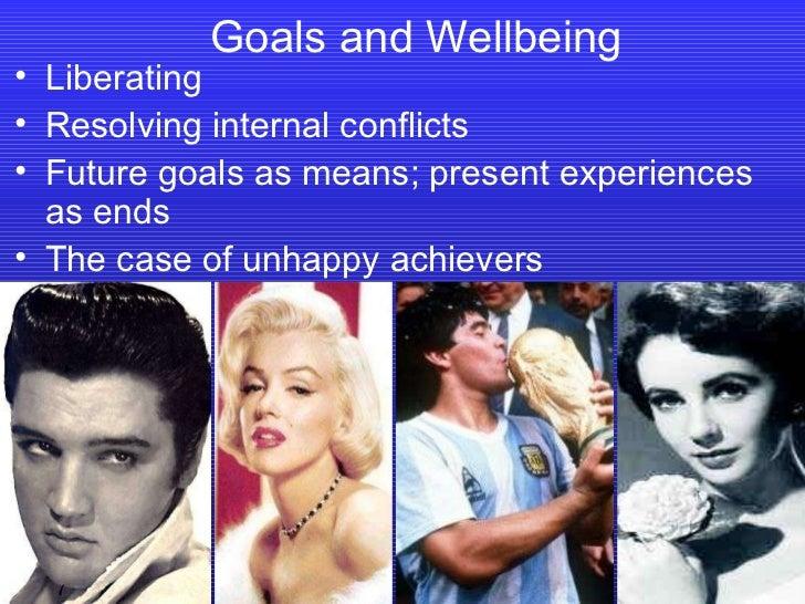 Goals and Wellbeing <ul><li>Liberating </li></ul><ul><li>Resolving internal conflicts </li></ul><ul><li>Future goals as me...