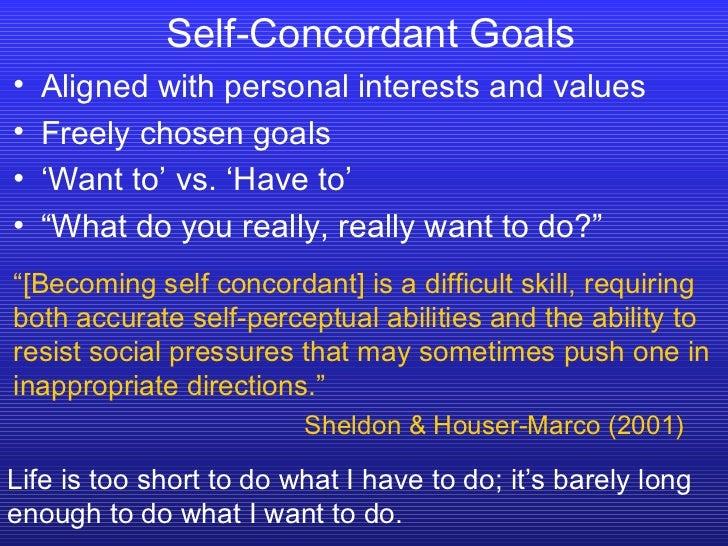 Self-Concordant Goals  <ul><li>Aligned with personal interests and values </li></ul><ul><li>Freely chosen goals </li></ul>...