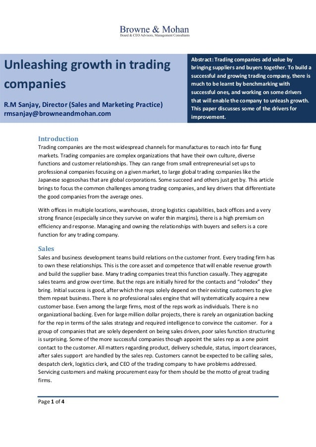 Page 1 of 4 Unleashing growth in trading companies R.M Sanjay, Director (Sales and Marketing Practice) rmsanjay@browneandm...
