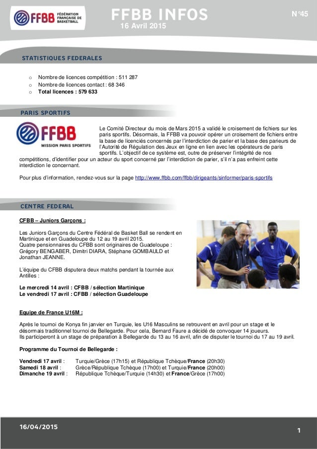 16/04/2015 1 1/Résultats des Equipes de France : o Nombre de licences compétition : 511 287 o Nombre de licences contact :...