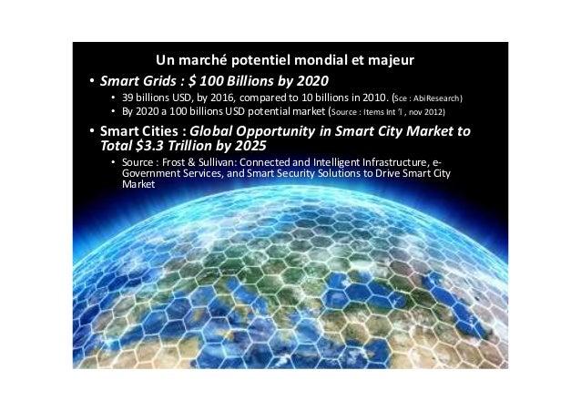 Un marché potentiel mondial et majeur • Smart Grids : $ 100 Billions by 2020 • 39 billions USD, by 2016, compared to 10 bi...