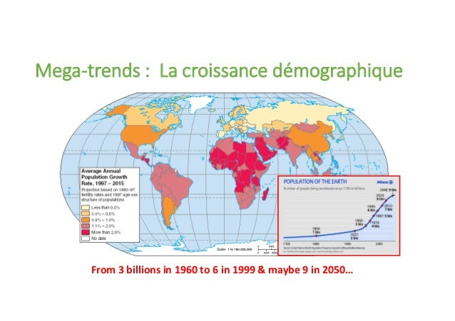 From 3 billions in 1960 to 6 in 1999 & maybe 9 in 2050… Mega-trends : La croissance démographique
