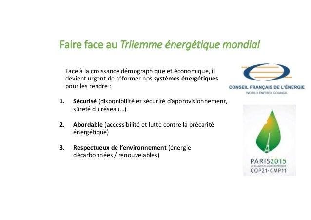 Faire face au Trilemme énergétique mondial Face à la croissance démographique et économique, il devient urgent de réformer...