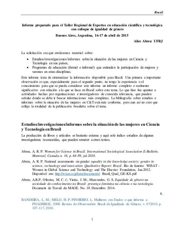 Brasil 1 Informe preparado para el Taller Regional de Expertos en educación científica y tecnológica con enfoque de iguald...
