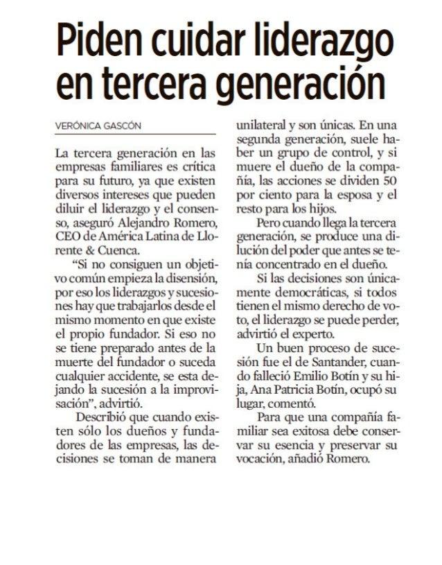 Título : 7950416 - Piden cuidar liderazgo en tercera generación Fecha : 2015-05-12 Medio : REFORMA / NEGOCIOS / P.2 Subtem...