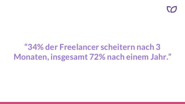 """""""34% der Freelancer scheitern nach 3 Monaten, insgesamt 72% nach einem Jahr."""""""