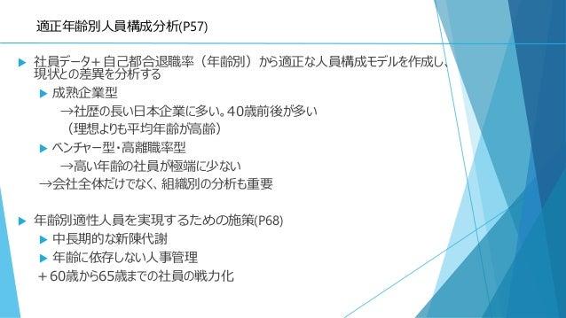 適正年齢別人員構成分析(P57)  社員データ+自己都合退職率(年齢別)から適正な人員構成モデルを作成し、 現状との差異を分析する  成熟企業型 →社歴の長い日本企業に多い。40歳前後が多い (理想よりも平均年齢が高齢)  ベンチャー型・...