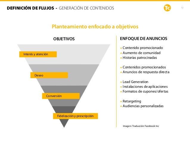 Planteamiento enfocado a objetivos 12DEFINICIÓN DE FLUJOS - GENERACIÓN DE CONTENIDOS OBJETIVOS Imagen: Traducción Facebook...