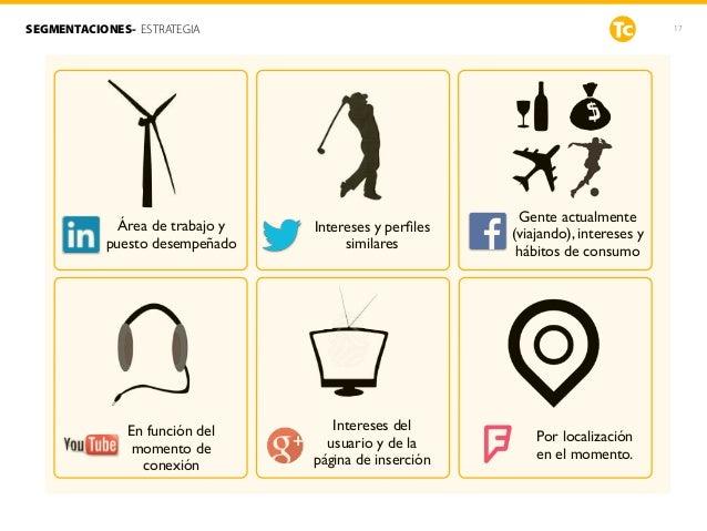 17SEGMENTACIONES- ESTRATEGIA Gente actualmente (viajando), intereses y hábitos de consumo Intereses y perfiles similares Ár...