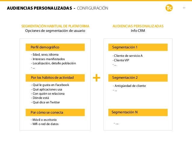 64AUDIENCIAS PERSONALIZADAS - CONFIGURACIÓN Segmentación 1 Segmentación 2 - Antigüedad de cliente - ... Segmentación N - ....