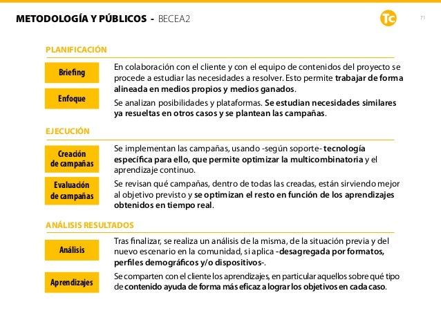 71METODOLOGÍA Y PÚBLICOS - BECEA2 Briefing Enfoque Creación de campañas Evaluación de campañas Análisis Aprendizajes En c...