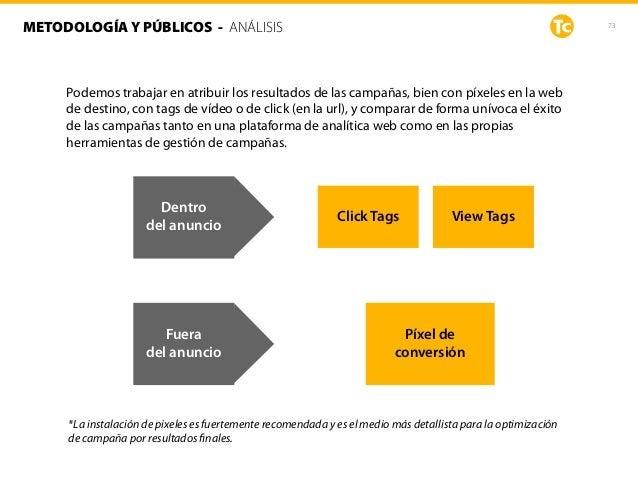 73METODOLOGÍA Y PÚBLICOS - ANÁLISIS Podemos trabajar en atribuir los resultados de las campañas, bien con píxeles en la we...