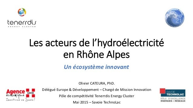 Les acteurs de l'hydroélectricité en Rhône Alpes Un écosystème innovant Olivier CATEURA, PhD. Délégué Europe & Développeme...