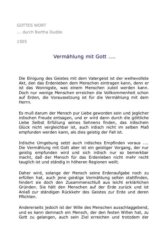 GOTTES WORT ... durch Bertha Dudde 1505  Vermählung mit Gott ....  Die Einigung des Geistes mit dem Vatergeist ist der wei...