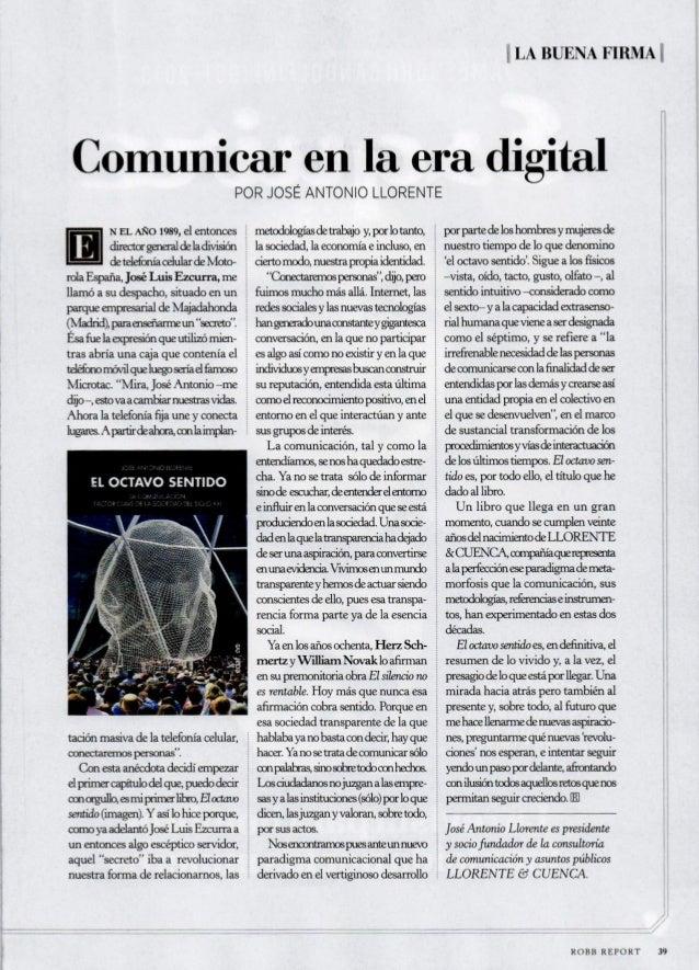 HLA BUENA FIRMA 1|  Comunicar en la era digital  POR JOSÉ ANTONIO LLORENTE  de telefonía celular de Moto-  rola España,  J...