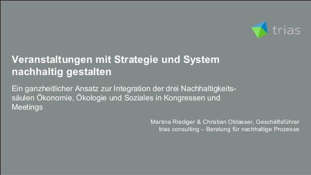Veranstaltungen mit Strategie und System nachhaltig gestalten Ein ganzheitlicher Ansatz zur Integration der drei Nachhalti...