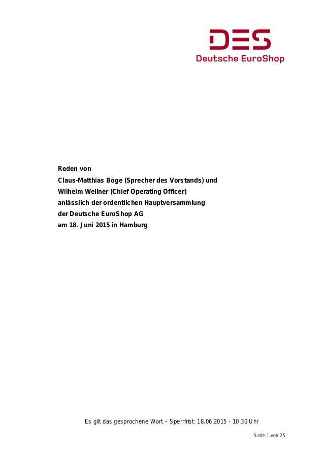 Seite 1 von 25 Reden von Claus-Matthias Böge (Sprecher des Vorstands) und Wilhelm Wellner (Chief Operating Officer) anläss...