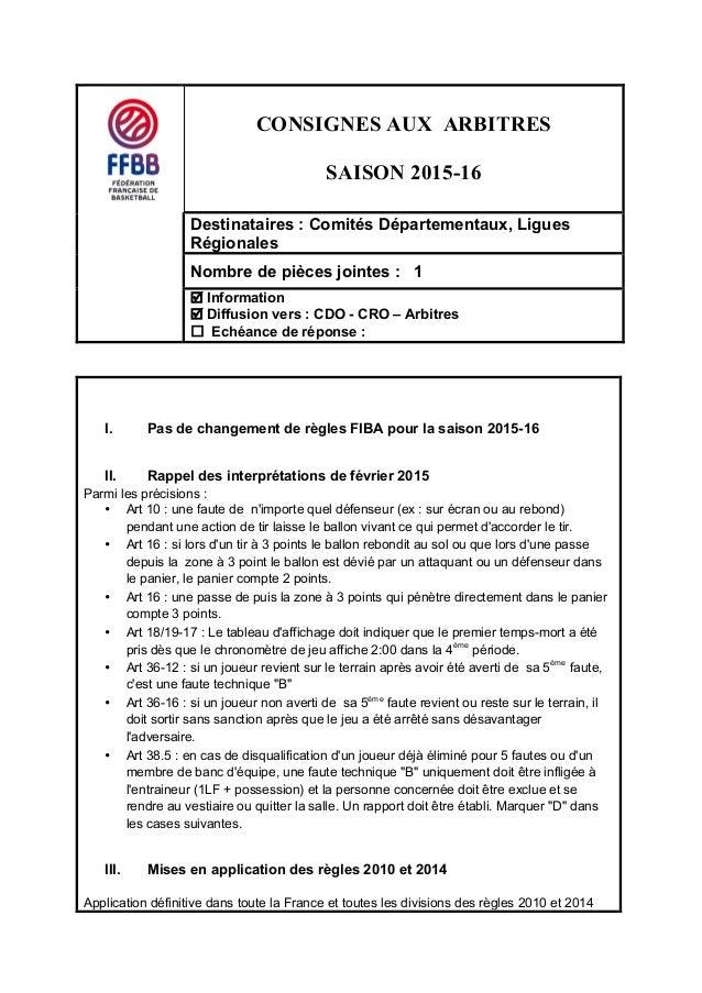 CONSIGNES AUX ARBITRES SAISON 2015-16   Destinataires : Comités Départementaux, Ligues  Régionales  Nombre de p...