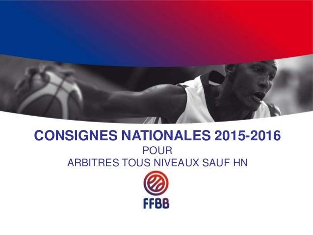 CONSIGNES NATIONALES 2015-2016 POUR ARBITRES TOUS NIVEAUX SAUF HN