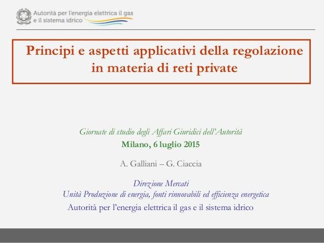 Principi e aspetti applicativi della regolazione in materia di reti private Giornate di studio degli Affari Giuridici dell...