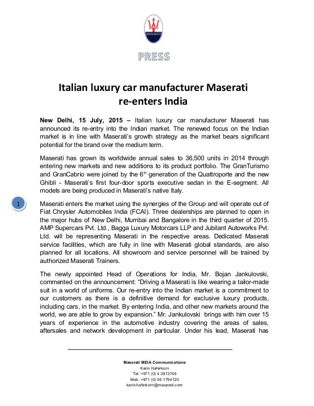 new car press releaseMaserati reenters India  Press Release