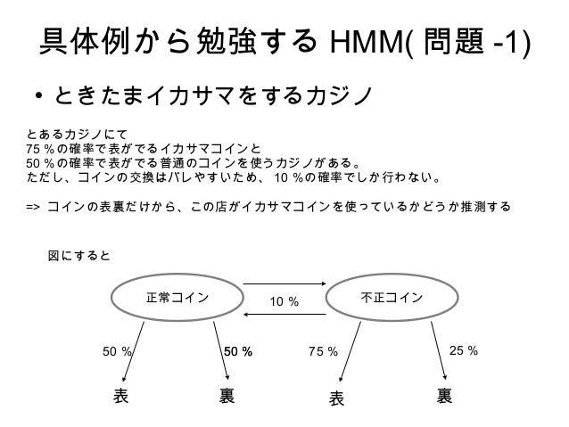 具体例から勉強する HMM( 問題 -1)  ときたまイカサマをするカジノ とあるカジノにて 75 %の確率で表がでるイカサマコインと 50 %の確率で表がでる普通のコインを使うカジノがある。 ただし、コインの交換はバレやすいため、 10 %...
