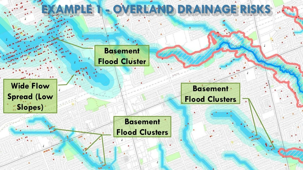 EXAMPLE 1 - OVERLAND DRAINAGE RISKS Wide Flow Spread (Low Slopes) Basement Flood Cluster Basement Flood Clusters Basement ...