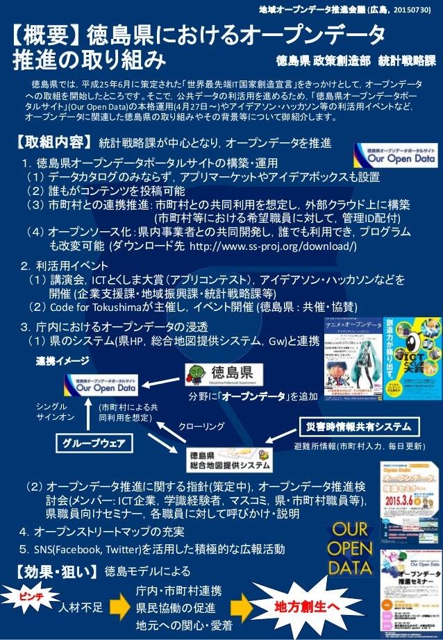 【概要】 徳島県におけるオープンデータ 推進の取り組み 徳島県 政策創造部 統計戦略課 【効果・狙い】 1.徳島県オープンデータポータルサイトの構築・運用 (1) データカタログのみならず,アプリマーケットやアイデアボックスも設置 (2) 誰も...