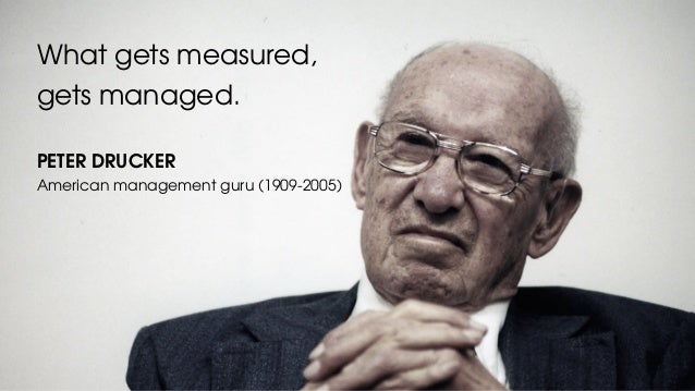 What gets measured, gets managed. PETER DRUCKER American management guru (1909-2005)