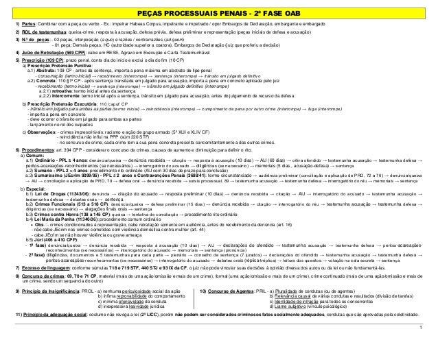 PEÇAS PROCESSUAIS PENAIS - 2ª FASE OAB 1 1) Partes: Combinar com a peça ou verbo - Ex.: impetrar Habeas Corpus, impetrante...