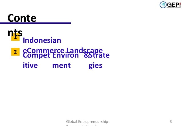 Conte nts 1 2  Indonesian eCommerce Landscape Compet Environ &Strate itive ment gies  Global Entrepreneurship  3