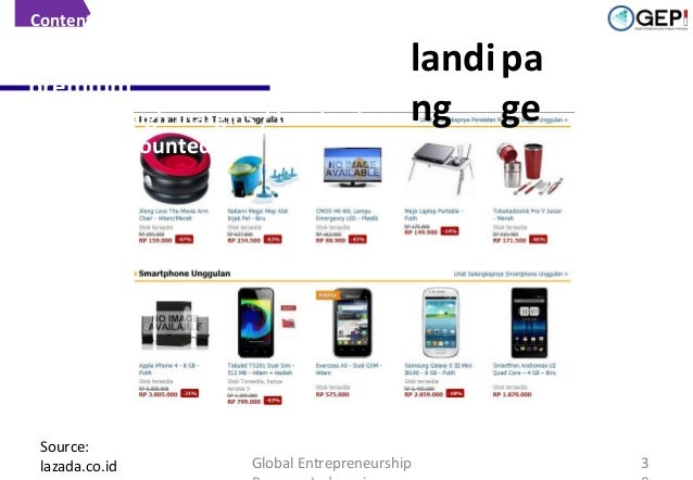 Content  Strategic placement for premium Popular / high margins / loss leaders (highly discounted)  Source: lazada.co.id  ...