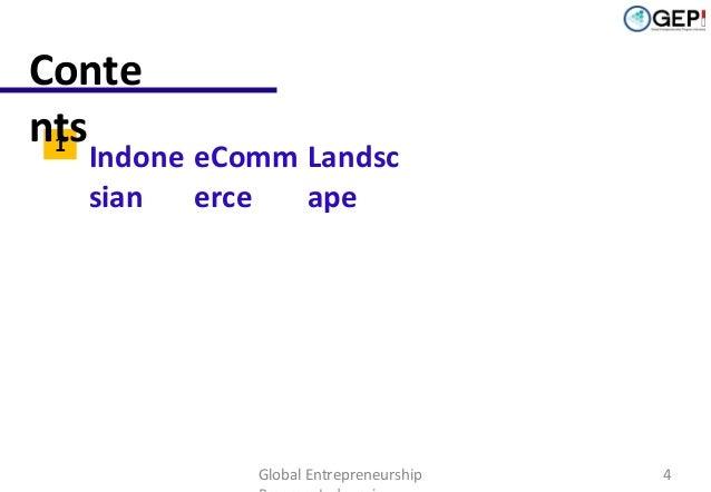 Conte nts 1 2  Indone eComm Landsc sian erce ape Competitive Environment & Strategies  Global Entrepreneurship  4