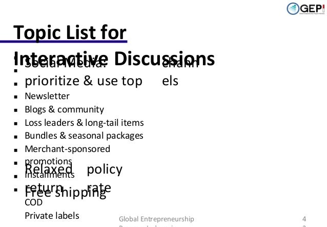 Topic List for  Interactive Discussions Social Media: chann            prioritize & use top  els  Newsletter Bl...