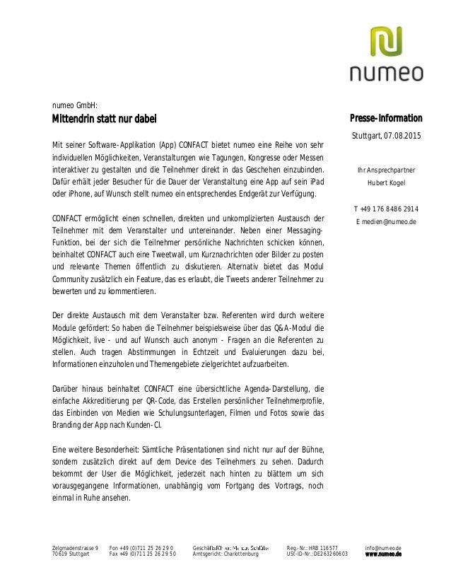 Zelgmadenstrasse 9 Fon +49 (0)711 25 26 29 0 Geschä Reg.-Nr.: HRB 116577 info@numeo.de 70619 Stuttgart Fax +49 (0)711 25 2...