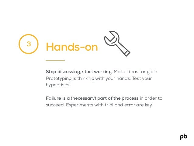 Hands-on Stop discussing, start working. Make ideas tangible. Prototyping is thinking with your hands. Test your hypnotise...
