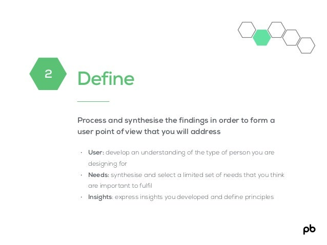 Define Process and synthesise the findings in order to form a user point of view that you will address • User: develop an ...