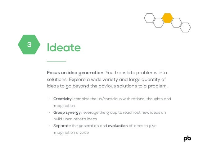 Ideate Focus on idea generation. You translate problems into solutions. Explore a wide variety and large quantity of ideas...