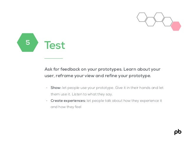 Test Ask for feedback on your prototypes. Learn about your user, reframe your view and refine your prototype. • Show: let ...