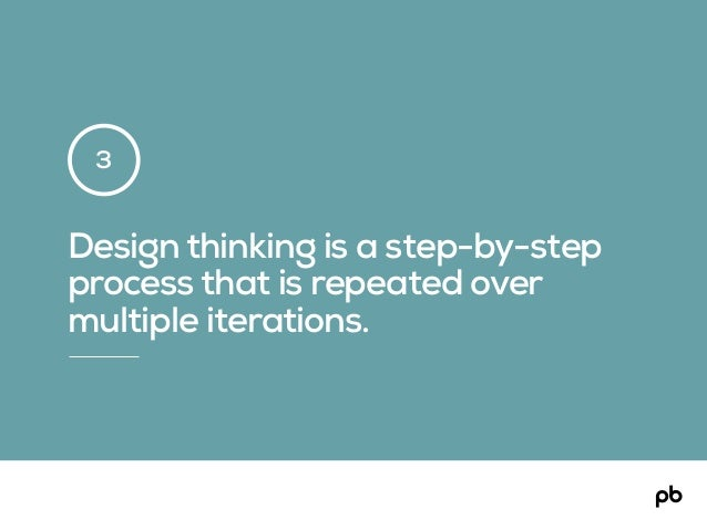 Design thinking is a step-by-step process that is repeated over multiple iterations. 3