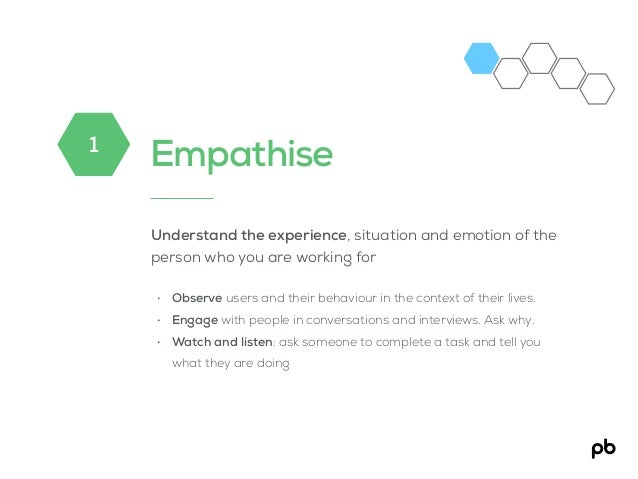 Empathise Understand the experience, situation and emotion of the person who you are working for • Observe users and their...