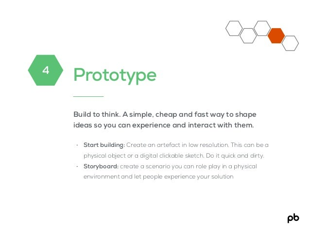 Prototype Build to think. A simple, cheap and fast way to shape ideas so you can experience and interact with them. • Star...