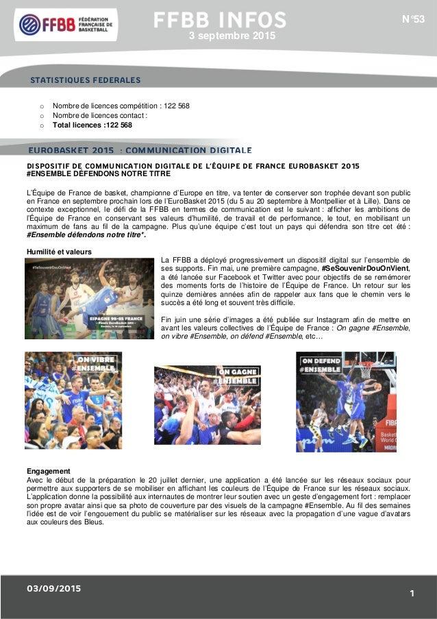 03/09/2015 1 1/Résultats des Equipes de France : o Nombre de licences compétition : 122 568 o Nombre de licences contact :...