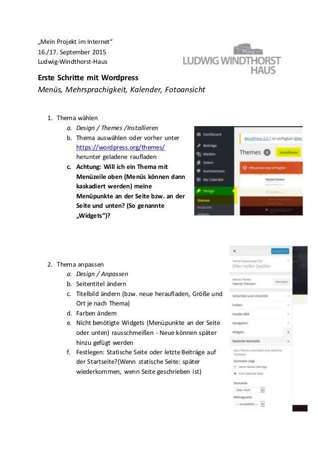 """""""Mein Projekt im Internet"""" 16./17. September 2015 Ludwig-Windthorst-Haus Erste Schritte mit Wordpress Menüs, Mehrsprachigk..."""