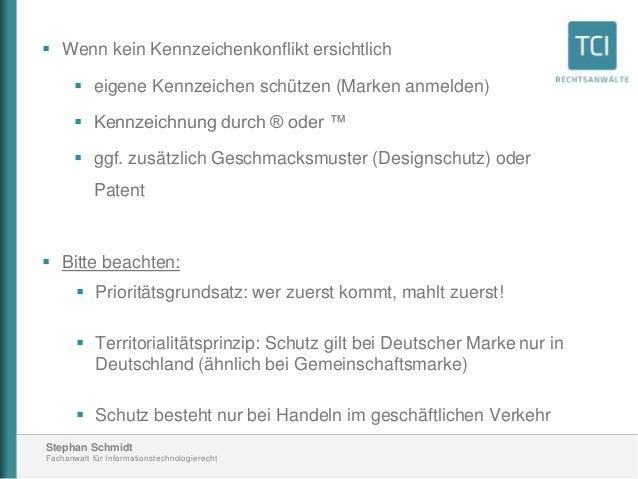 Stephan Schmidt Fachanwalt für Informationstechnologierecht  Wenn kein Kennzeichenkonflikt ersichtlich  eigene Kennzeich...