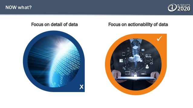  NOW what? Focus on detail of data Focus on actionability of data